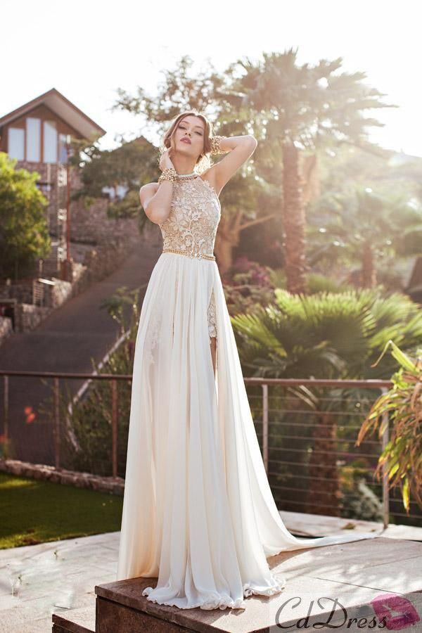 2015 Lace Applique Chiffon Prom Dresses Halter Beaded Crystals Short Side Slit Backless Evening Gowns Summer Beach Wedding Dresses - PROM - CDdress.co
