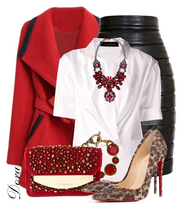 """Senza titolo #5206"" by doradabrowska ❤ liked on Polyvore featuring Balmain, Thakoon, Ralph Lauren, Emporio Armani, Christian Louboutin, H&M, women's clothing, women's fashion, women and female"