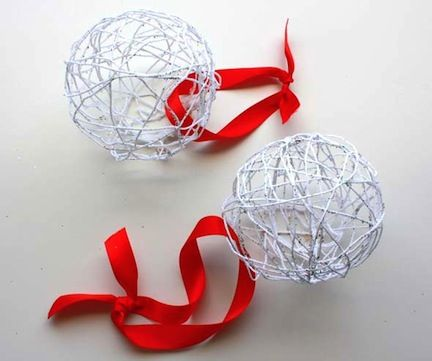 Balloon Ornaments  White glue serves as the stiffener for these pretty yarn ornaments, and kids will enjoy wrapping the yarn around balloons.