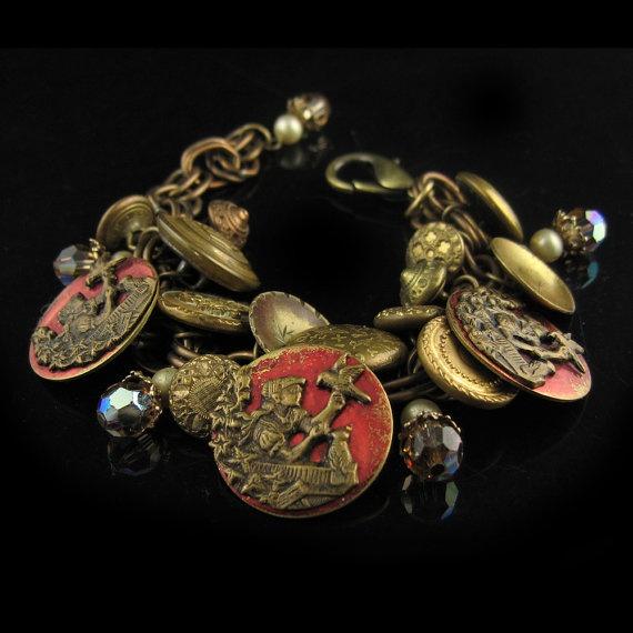 antique vintage picture button bracelet