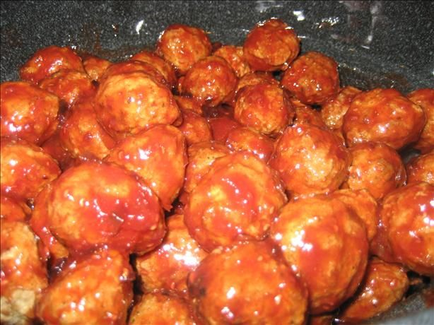 Grape Jelly & Chili Sauce Meatballs -   3 -5 lbs frozen cooked small meatballs or 3 -5 lbs Little Smokies sausages  1 (32 ounce) jar grape jelly  2 (12 ounce) jars chili sauce   1 pinch cayenne pepper (optional)  Directions: In a pot combine the grape jelly with the chili sauce; add in the meatballs and simmer for about 45 minutes uncovered or until the sauce has thickened.