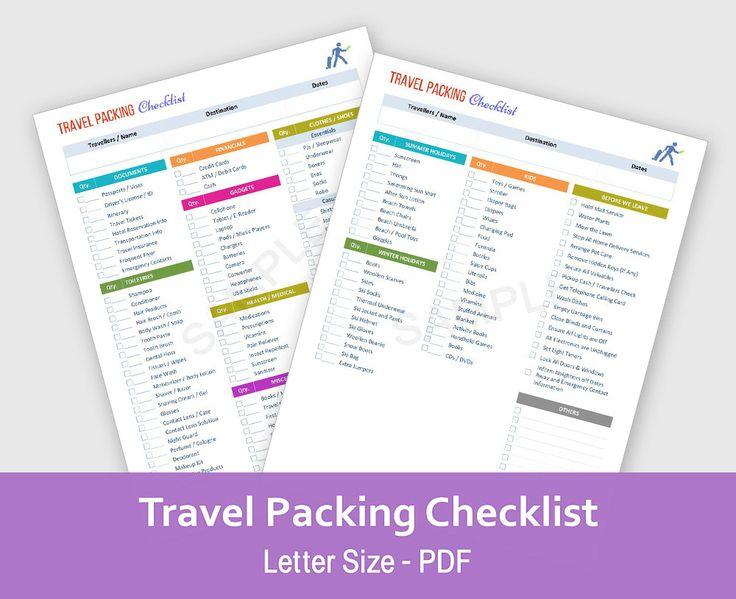 Travel Planner Checklist Vacation Organizer by TheWomenTalk