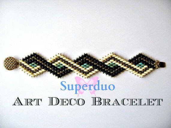 Tutorial Superduo pulsera Peyote Art Deco instantánea patrón descargar apto para todos los niveles. Original diseño de mariposa grano Kits