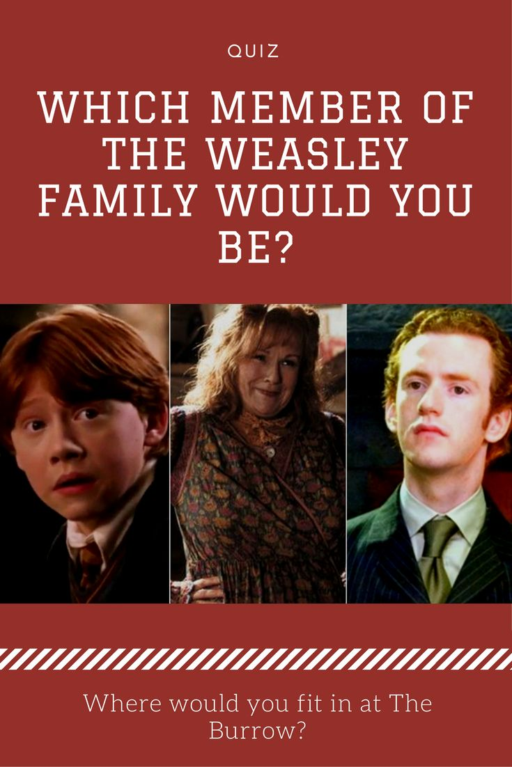 "The Weasleys are undoubtedly the most beloved wizarding family in the world of ""Harry Potter."" They're warm, accepting and loyal, and they were the best adoptive family that Harry could've asked for. Which member would you be?"