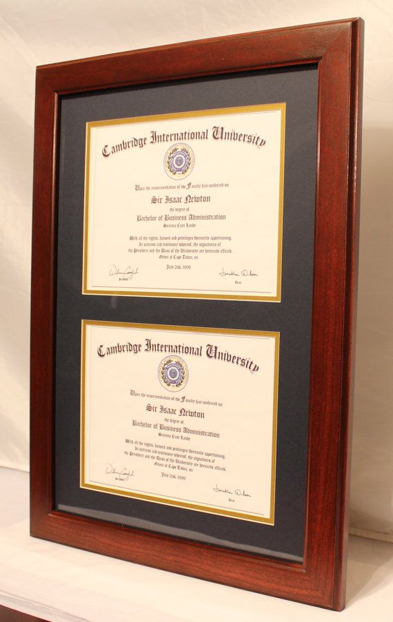 Double diploma frames are a great way to save money and improve the look of your office or home. This beautiful solid cherry frame holds two 8 1/2 x 11 diplomas for much less than the cost of two single diploma frames. #diploma frames