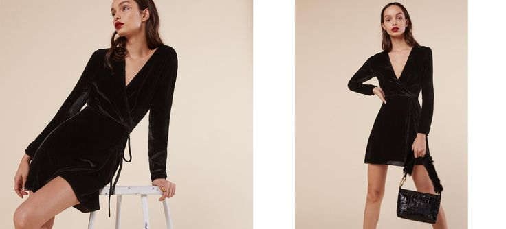 New cocktails, for the holidays. This is a mini length, wrap dress with long sleeves and a v neckline.