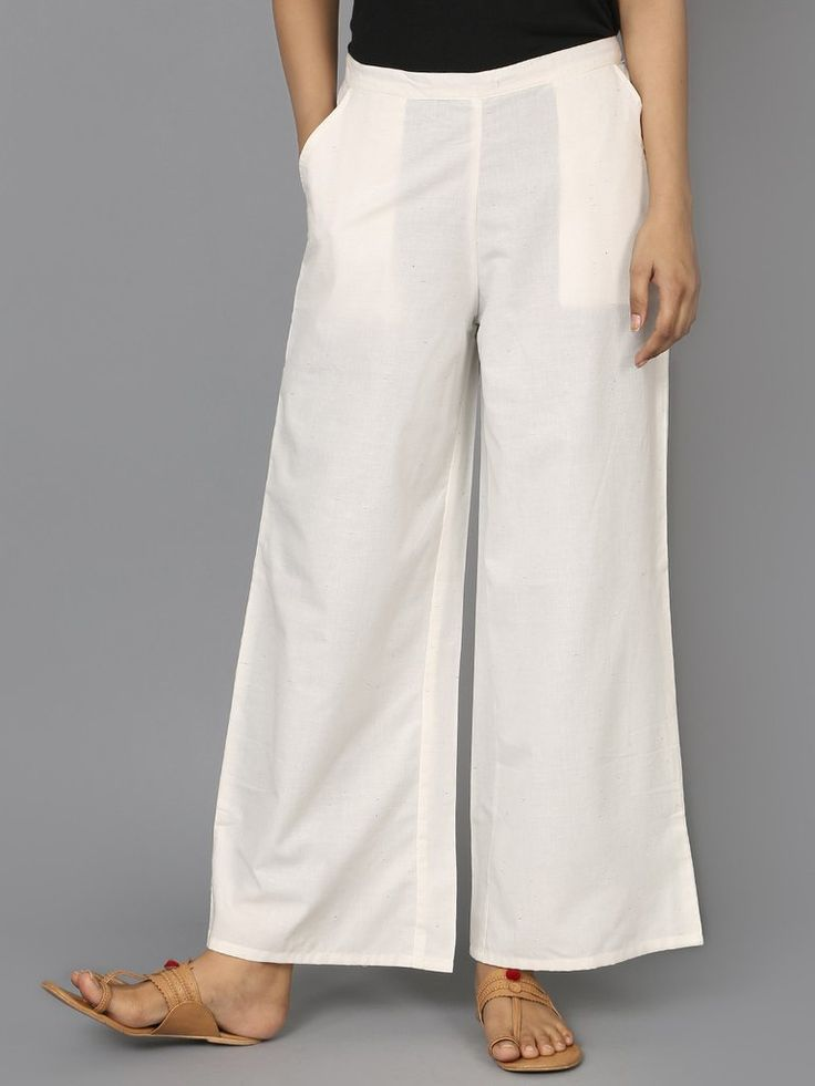 Off White Cotton Palazzo Pants - The Wooden Closet