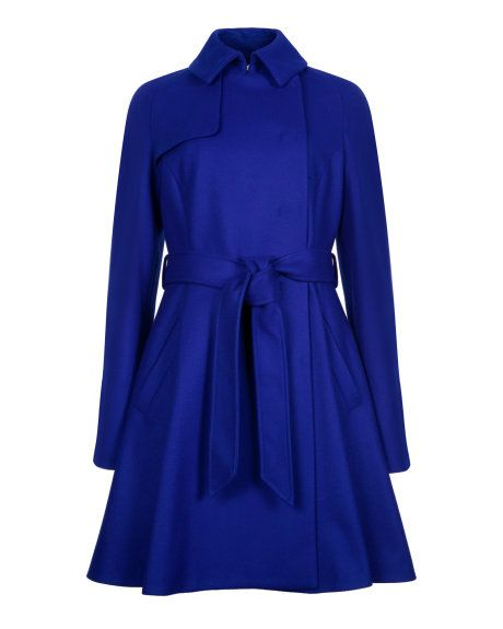 Wool trench coat - Bright Blue | Jackets & Coats | Ted Baker