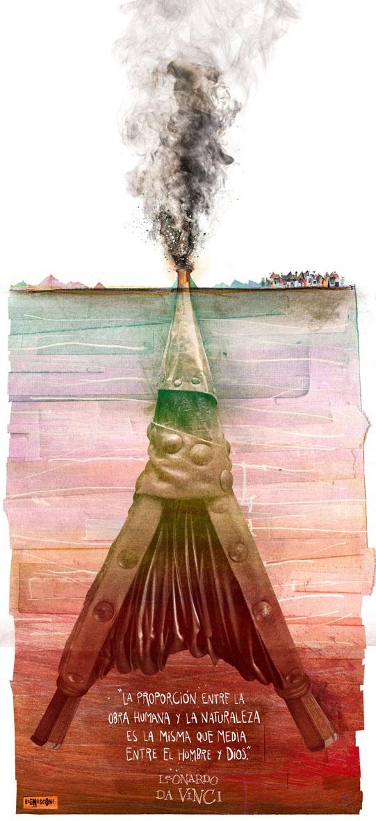 PABLO BERNASCONI: Columna en La Nación   Seleccioné este afiche porque me parece increíble lo que logra Bernasconi desde el collage, genera desde retratos de celebridades hasta situaciones sociales, en este caso juega con el avivador de fuego para representar al volcán y al problema de la ceniza en bariloche.