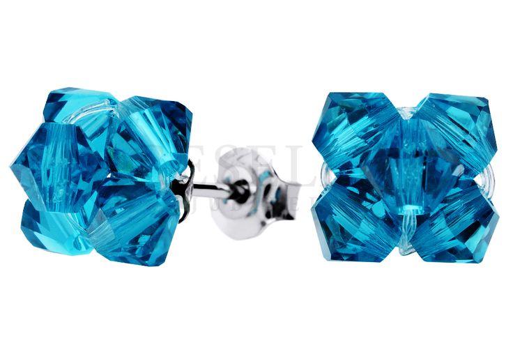 Kolczyki ze srebra zapinane na sztyft w kształcie kwiatuszków - morskie kryształy Swarovski ELEMENTS