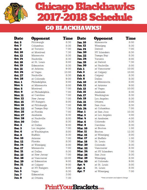 Printable Chicago Blackhawks 2017-2018 Schedule