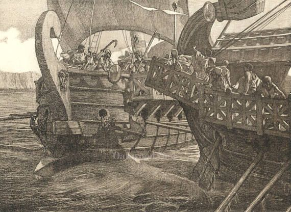The War Ships by Tito Lessi, Antique 10x12 Sepia Engraving c1890s, From The Decameron by Giovanni Boccaccio, FREE SHIPPING $11.75