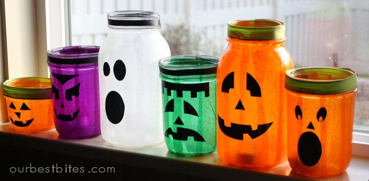Mason Jar Jack'O'Lanterns: Holiday, Halloween Decorations, Masons, Mason Jars, Mason Jar Lanterns, Halloween Ideas, Halloween Jars