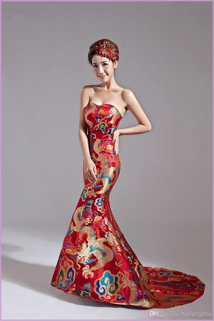 Great Cheap Red Wedding Dresses Discount Wedding Dresses Classical Red Gold Chinese Embroidery Cheongsam