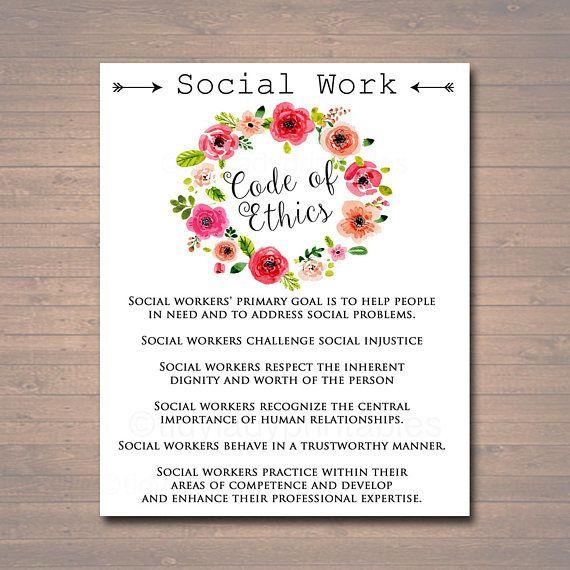 Social Work Code Of Ethics Social Worker Gift Social Worker Etsy Social Worker Gifts Social Workers Office Social Worker Office Decor