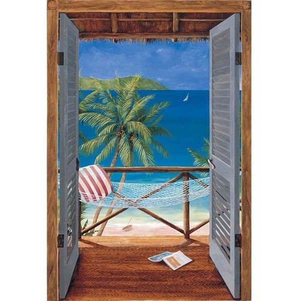 Tropical Doors Wall Mural ❤ Liked On Polyvore