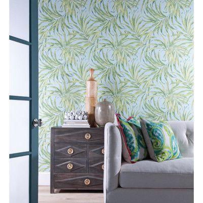 "York Wallcoverings Ashford Tropics 27' x 27"" Bali Leaves Wallpaper | AllModern"