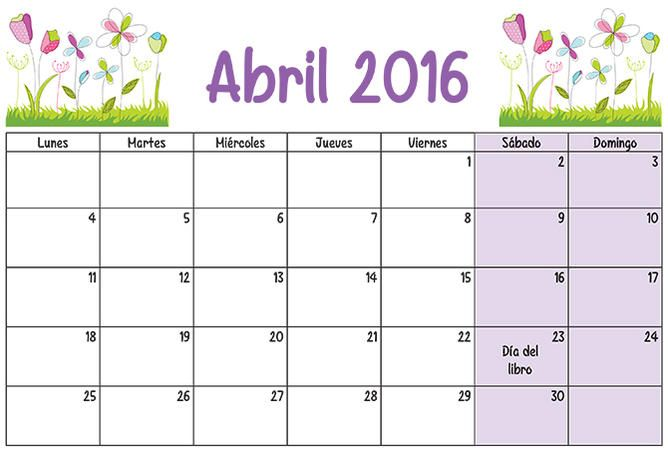 CALENDARIO ABRIL 2016 - ¡Feliz Año Nuevo! (shared via SlingPic)