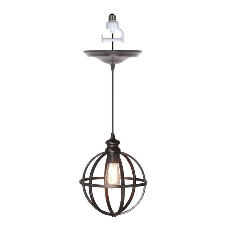 worth brushed bronze finish with bronze cage instant pendant light conversion at the home depot so cool with the edison bulbs i need two