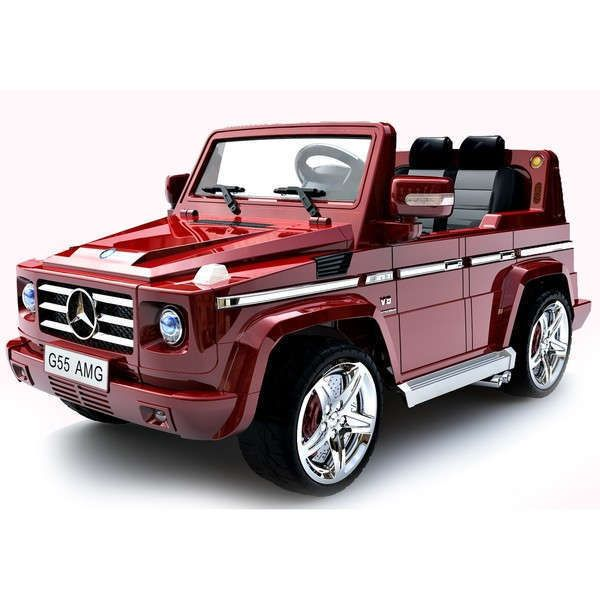 electric cars for kids to ride red mercedes g55 burgundy luxury remote control