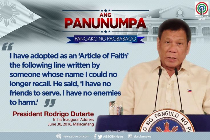 President Rodrigo Duterte quotes a phrase from an anonymous person, which he says he follows intently. #Panunumpa