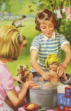 Washing dolls - Peter And Jane, We Like To Help. I had so much fun doing this with my sister!