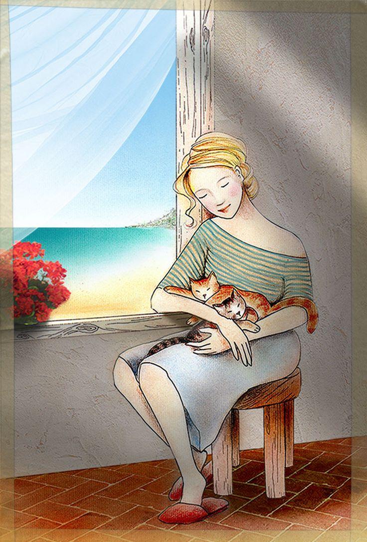 Grecia. Pen + soft pastels + Photoshop #illustration #art #poetry #graphics #Greece #cats