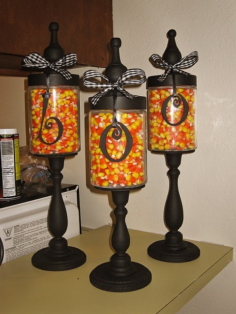 Candy Holders- made from Hobby Lobby, can change letters and candy for each season JOY for Christmas and Spring (peppermints and pastel candies), SUN for summer with bright colored candies, and BOO for fall! Way too cute!