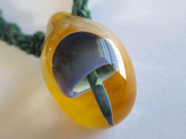 15 best mushroom pendants images on pinterest hemp necklace hand blown boro glass purple and yellow mushroom pendant on handmade green hemp twist necklace mozeypictures Images