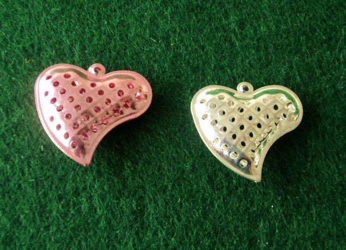 Μεταλλική καρδιά ροζ και ασημί για μπομπονιέρα γάμου