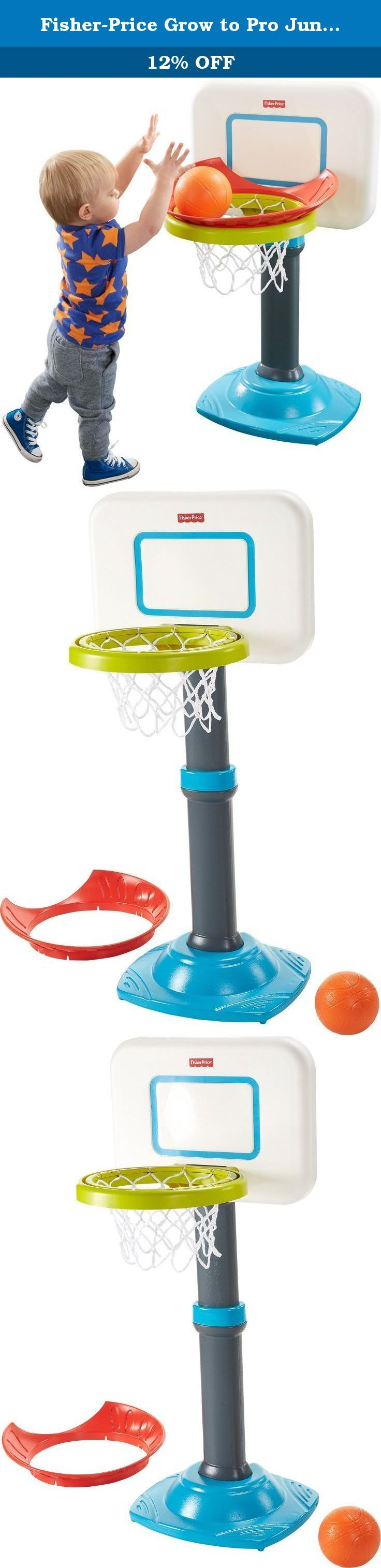 Fisher-Price Grow to Pro Junior Basketball. They shoot, they score! Toddlers start with the Sure Score rim, which does more than just guide the ball into the basket, it helps build their confidence! When kids are ready for more of a challenge, just remove the special rim. Four height positions make this basketball set a real slam dunk - it grows with little b-ballers and their shooting skills!.