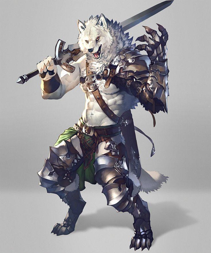 Wolf swordsman by koutanagamori   / http://koutanagamori.deviantart.com/art/Wolf-swordsman-576499778
