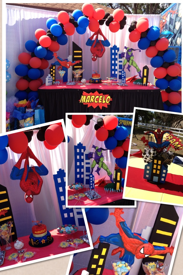 Spiderman principal table decorations aaron spiderman for Spiderman decorations