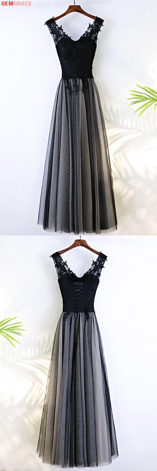 Formal Long Black V-neck Cheap Prom Dress Sleeveless # ...