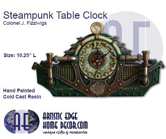 Steampunk Table Clock - Colonel J. Fizziwigs Collection