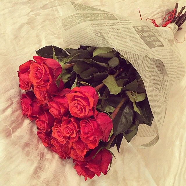 romancing each other with bouquets of roses