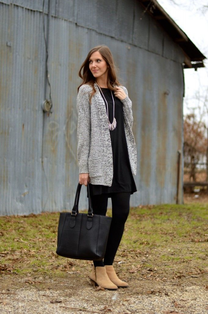 black t-shirt dress + cozy sweater + statement necklace + black tights + tan booties