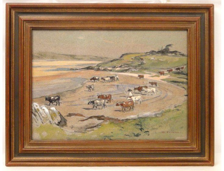 Peinture aquarelle paysage troupeau de vaches à la plage, E.Doigneau, 20