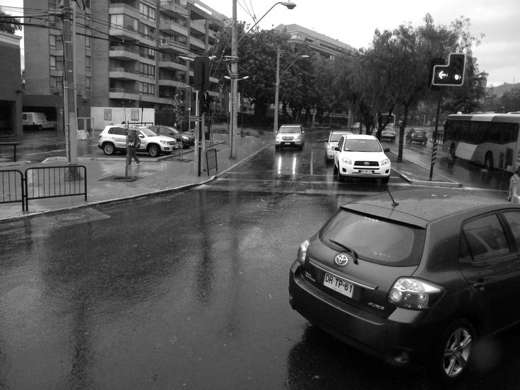 Calles de Santiago en un dia de lluvia