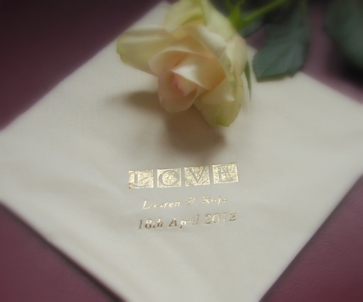 "100 Personalised Napkins / Serviettes for Wedding or any occasion ""LOVE"" Design 