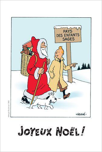 Tintin and Snowy with Father Christmas at Christmas time • Tintin, Herge j'aime