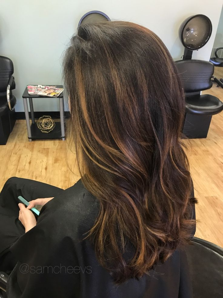 Dark chocolate brown with warm honey caramel highlights for brown and black hair types / Asian hair / Indian hair / Hispanic hair / ethnic hair types / balayage highlights for dark brown / brown and black hair types