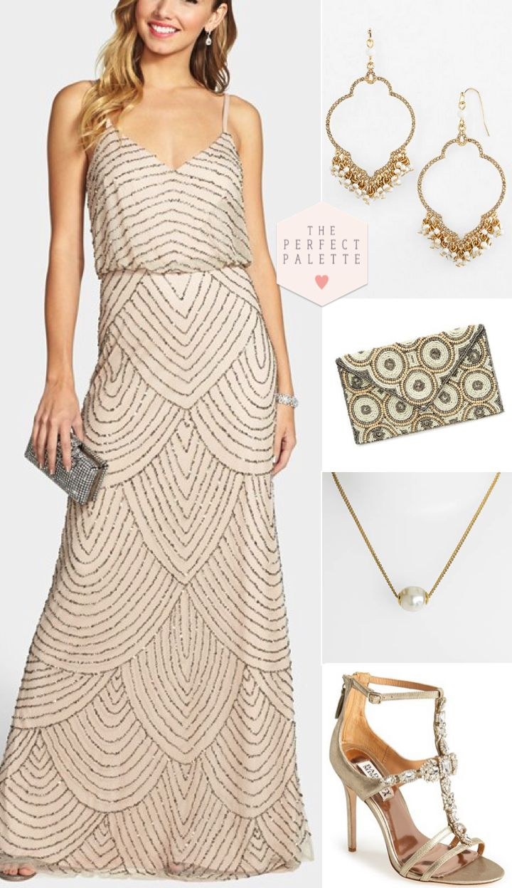 Beige Beauty with Embellishments - http://www.theperfectpalette.com/2015/01/bridesmaid-looks-youll-love-embellished.html - Styled Pretty