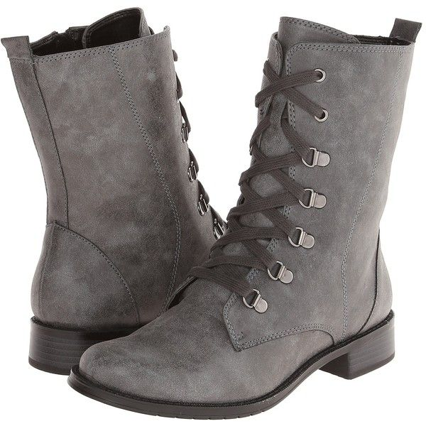 Aerosoles Ride Away Women's Lace-up Boots, Gray ($66) ❤ liked on Polyvore featuring shoes, boots, grey, grey boots, combat boots, laced boots, lacing combat boots and aerosoles boots