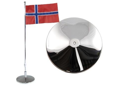 Flaggstång, slät, Norsk flagga, h 42cm. Material: Nysilver.