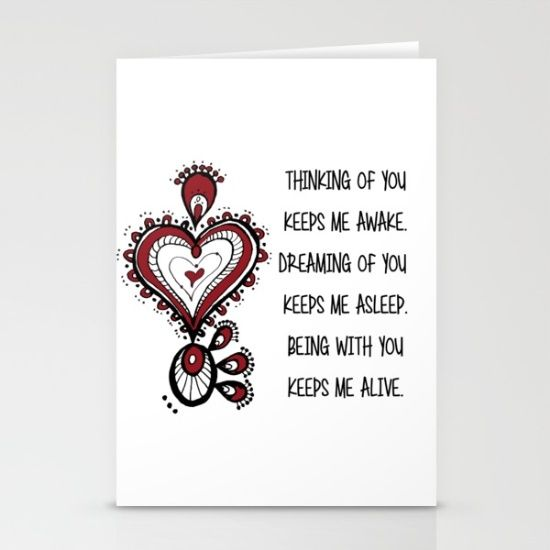Valentine's Day Quote Stationery Cards love, heart, red, zen, ink, illustration, unique, trendy, girlfriend, boyfriend, wife, husband, lover, friendship, romance, cute, cool, organic, hand made, valentine day, special