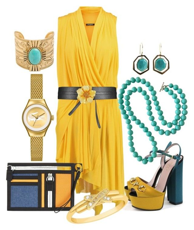 """mustard"" by kim-coffey-harlow ❤ liked on Polyvore featuring Gucci, Balmain, Kenzo, Kenneth Jay Lane, Lacoste, Chaumet and Ippolita"