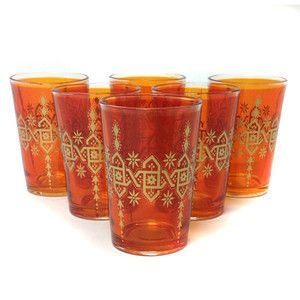 Souad Glass Orange Set Of 6, $64, now featured on Fab.