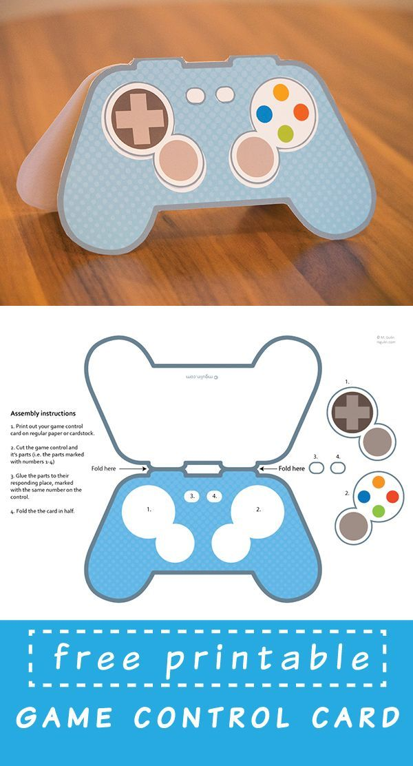 free printable video game controller card | geeky birthday card idea