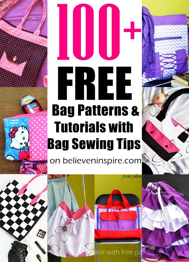 100+ free bag patterns and tutorials with bag sewing tips on believeninspire.com